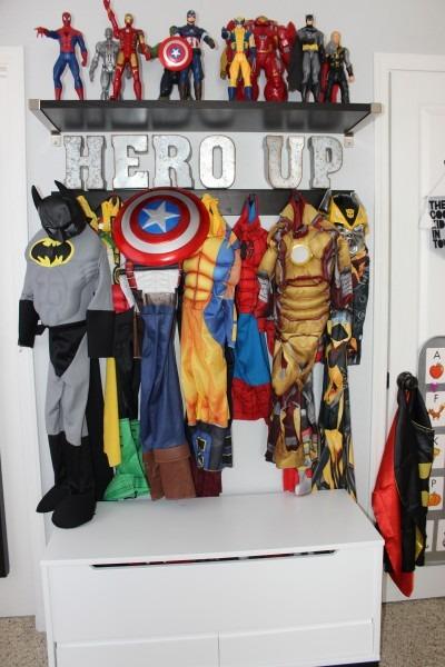 Boys Room Superhero Costume Display Organization