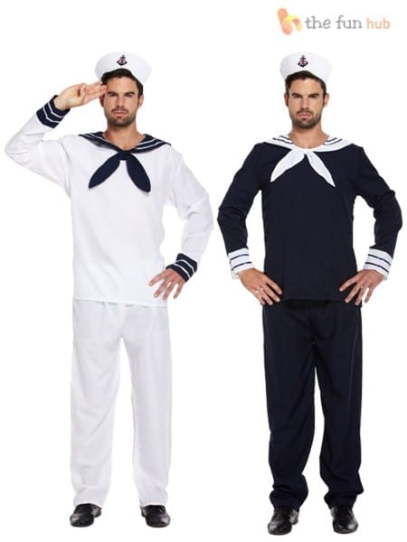 Mens Sailor Complete Outfit + Hat Navy Fancy Dress Officer Marine