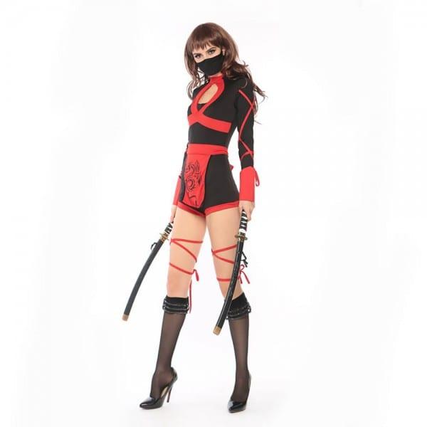 Adult Ninja Costume Sexy Girl Dragon Pattern Sleeveless Leotard