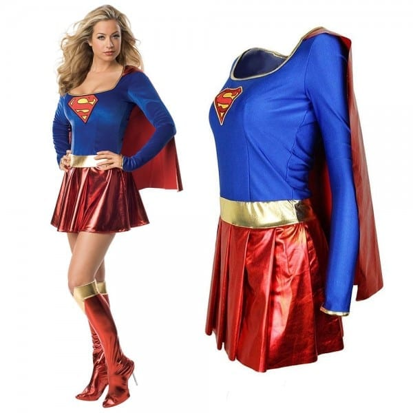 Adult Supergirl Costume Superhero Fancy Dress Sexy Ladies Super