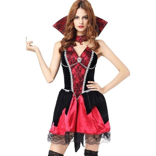 Black Red Gothic Vampire Dress Halloween Cosplay Costume