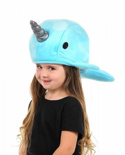 Blue Narwhal Costume Hat Plush Ocean Sea Unicorn Funny Animal