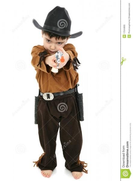 Boy In Cowboy Sheriff Costume Stock Image