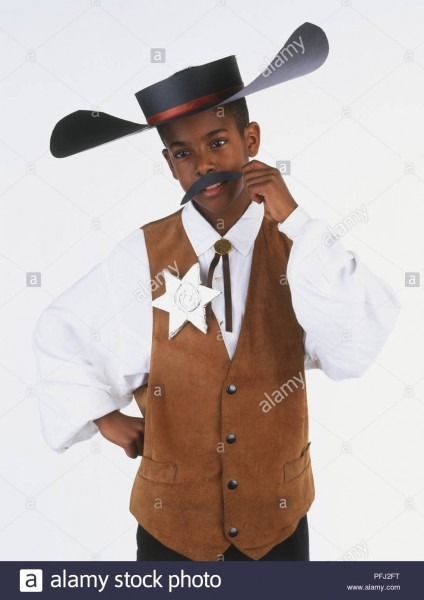 Boy Wearing A Sheriff's Costume, Including Hat, Waistcoat And Star