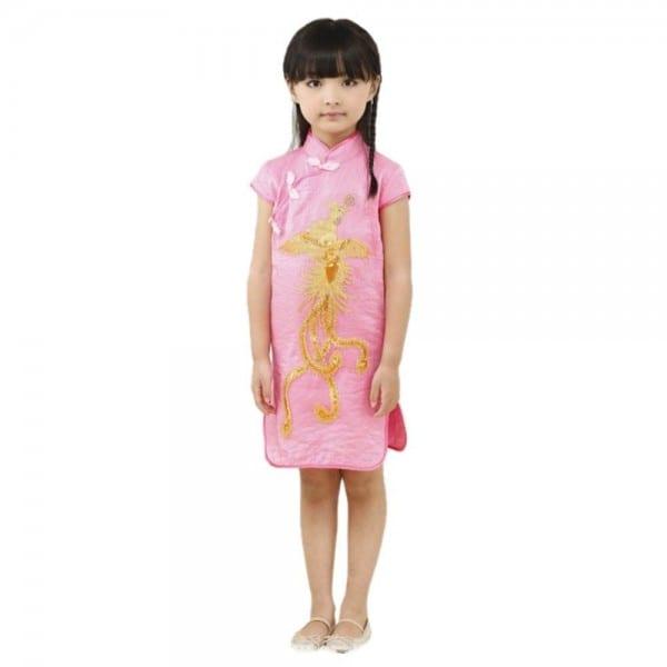 Classic Chinese Style Children Kids Girls Phoenix Cheongsam Dress