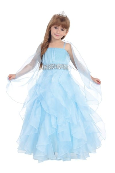 Baby Blue Organza Ruffled Skirt Flower Girl Dress