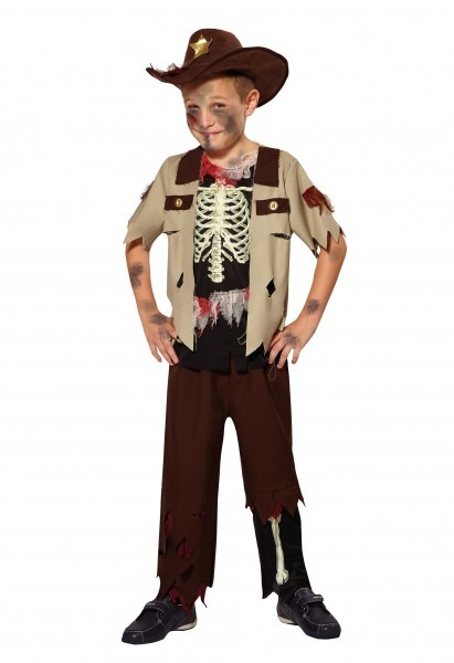 Skeleton Sheriff Kids Boys Halloween Fancy Dress Costume Childs