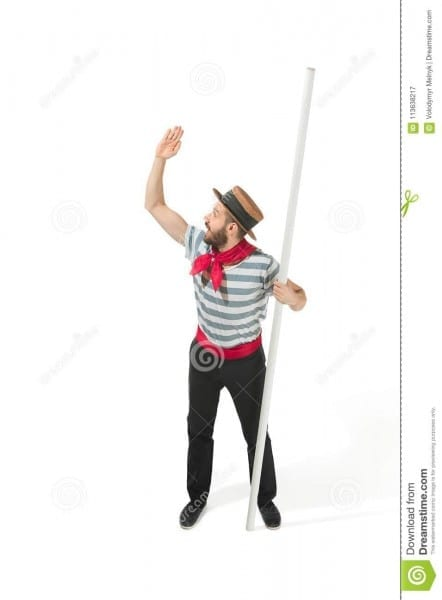 Caucasian Man In Traditional Gondolier Costume And Hat Stock Image