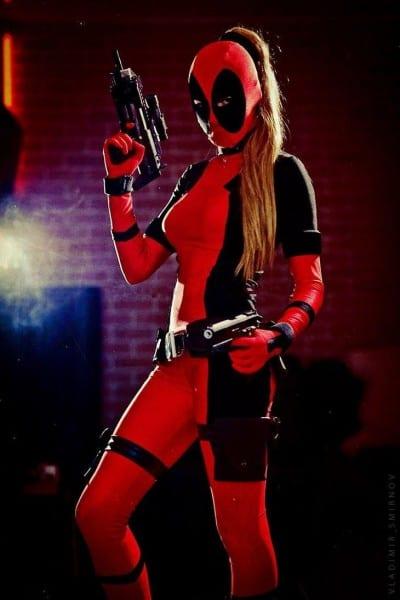 Cool Lady Deadpool Costume Red Full Body Spandex Girl Women Female