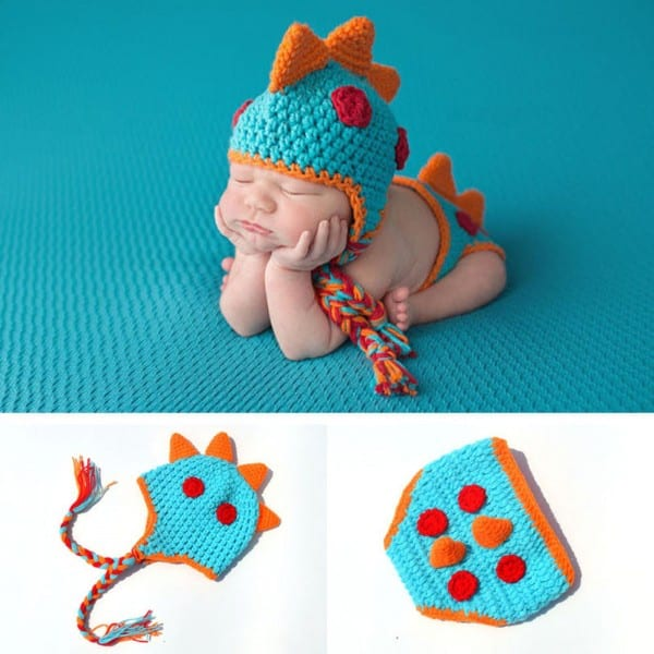 Crocheted Baby Boy Dinosaur Outfit Newborn Photography Props