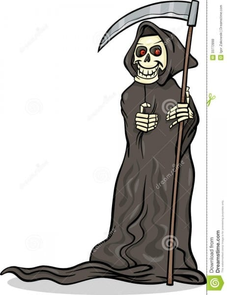 Death Skeleton Cartoon Illustration Stock Vector