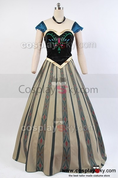 Frozen Princess Anna Coronation Dress Cosplay Costume