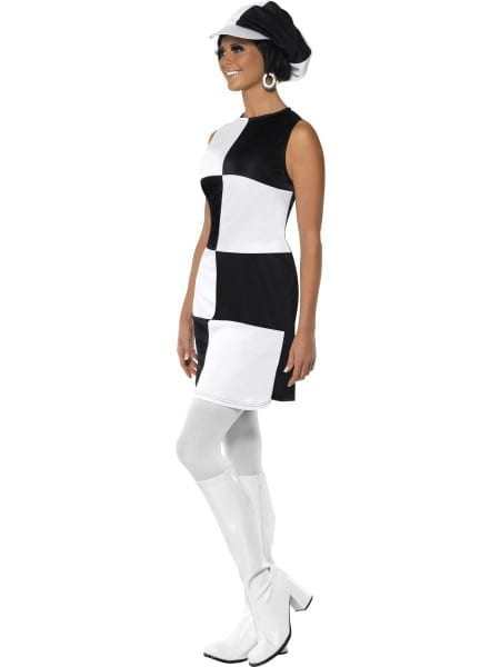 Ladies Black White Party Girl Swinging 60s 70s Disco Fancy Dress