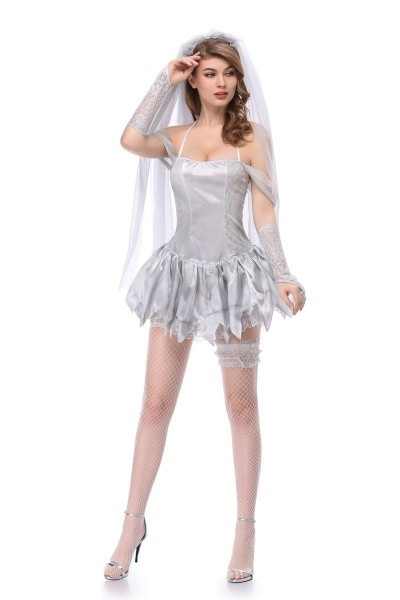 Adult Women Halloween Corpse Bride Costume Ladies Short Sexy