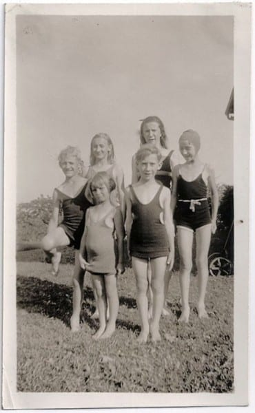 Old Photo Children Wearing Swimsuits 1920s Girls Boys Kids
