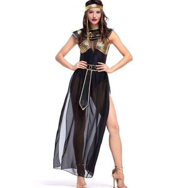 Fancy Gold Egyptian Goddess Black Halloween Costume  2hal47455