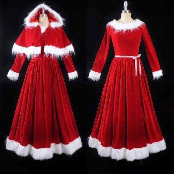 Vtg Mrs  Santa Claus Red Velvet Full Length Skirt Fur Dress Hooded
