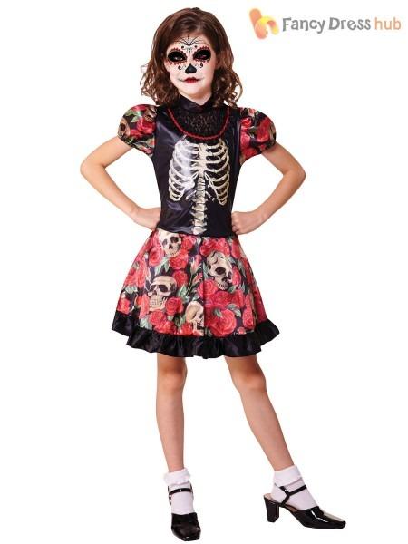 Childrens Day Of The Dead Girl Fancy Dress Costume Halloween Girls