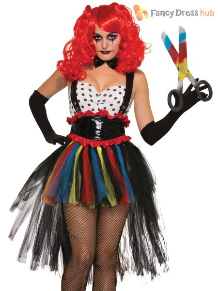 Ladies Evil Clown Costume Adults Circus Halloween Fancy Dress