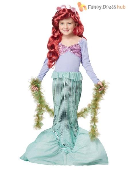 Girls Deluxe Little Mermaid Costume Child Book Week Fancy Dress