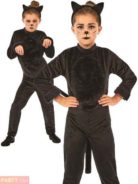 Childs Black Cat Costume Girls Halloween Animal Fancy Dress Kids