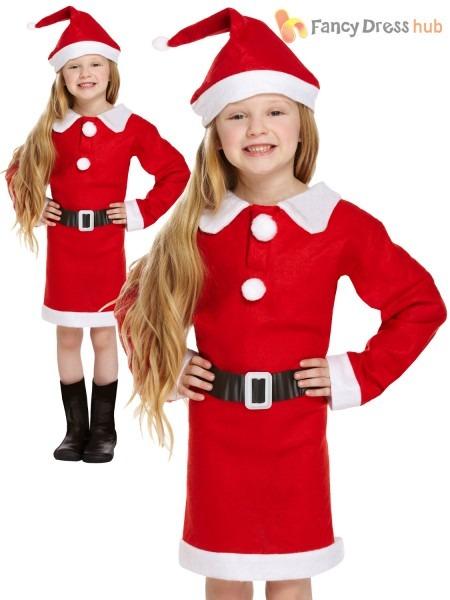 Girls Miss Santa Costume Kids Christmas Fancy Dress Hat Outfit