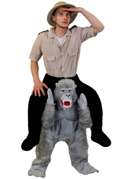 Adult Piggy Back Gorilla Costume Mens King Kong Halloween Fancy