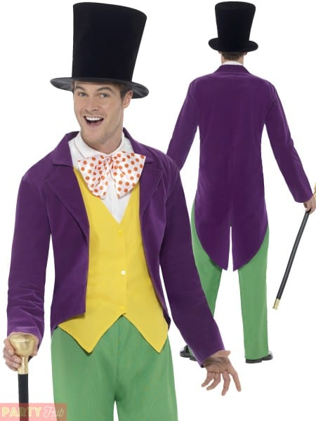 Roald Dahl Willy Wonka Costume Mens Book Week Fancy Dress Outfit