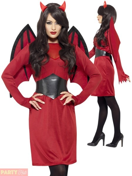 Ladies Red Devil Costume + Wings + Horns Womens Halloween Fancy