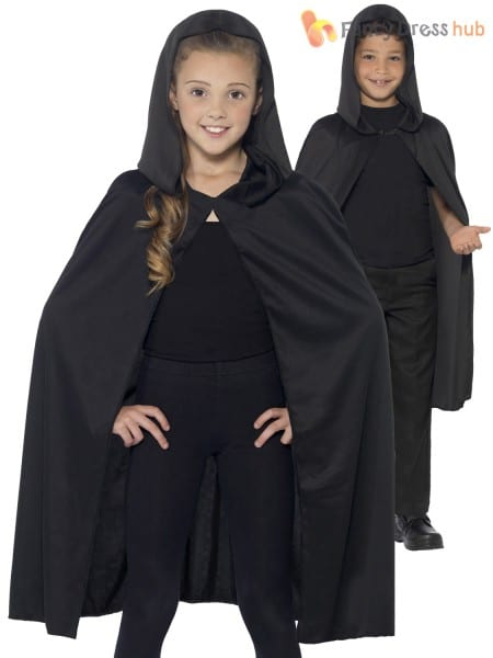Kids Halloween Black Hooded Bat Spider Cape Cloak Boys Child Fancy