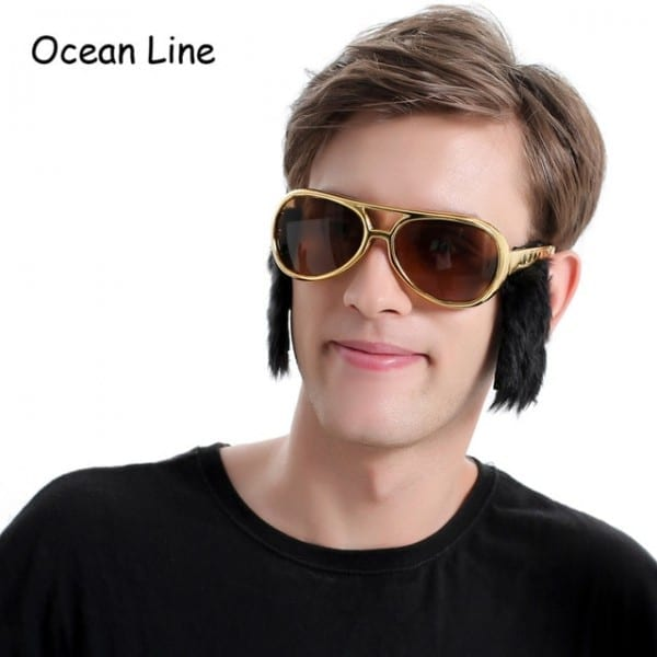 Funny Elvis Goggles Costume Glasses With Sideburns Rock And Roll