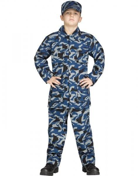 Blue Camouflage Uniform Boys Navy Soldier Cammies Halloween