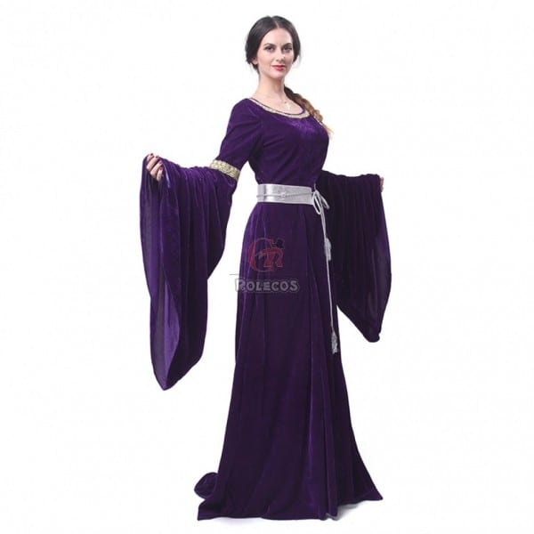 Women Renaissance Medieval Purple Dress Retro Court Gown Halloween