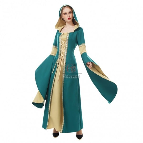 Medieval Renaissance Dress Women Long Bell Sleeve Hooded Dress