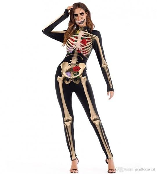 Halloween Costume Womens Skeleton Rose Print Scary Costume Black