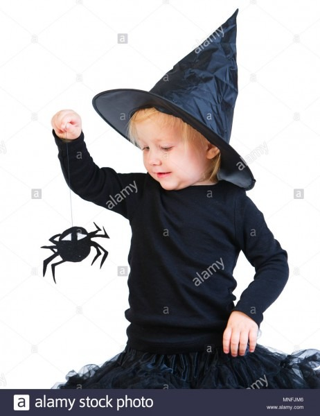 Halloween Dressed Toddler Girl In Black Little Witch Costume
