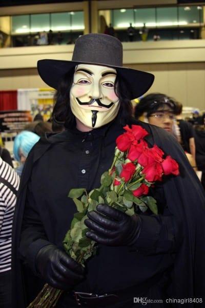 Halloween V For Vendetta Mask Hat Wig Cloak Pants Boots Belt
