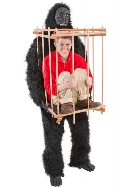 Gorilla And Man In Cage Costume
