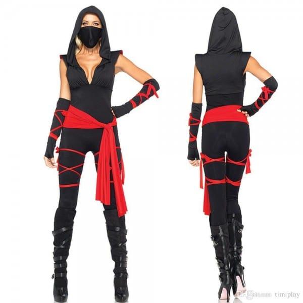 High Quality Black Ninja Jumpsuits Costume For Women Halloween