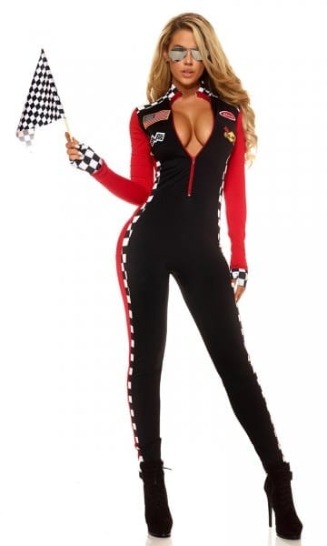 Sexy Race Girl Costume Race Car Driver Jumpsuit Plaid Long Sleeves