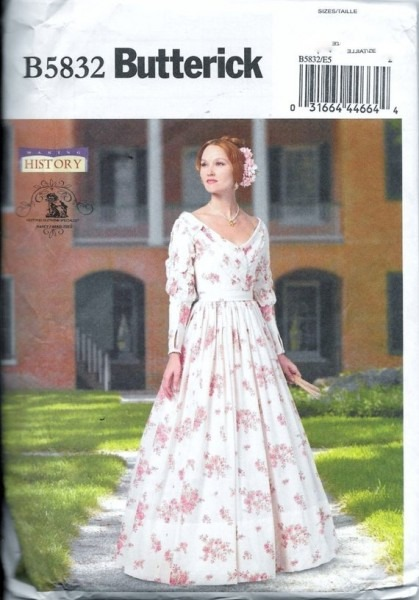 Butterick B5832 Victorian Dress Historical Southern Belle Gown