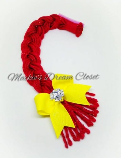 Red Hair Yarn Jessie Toy Story Braid Yellow Bow And Rhinestone