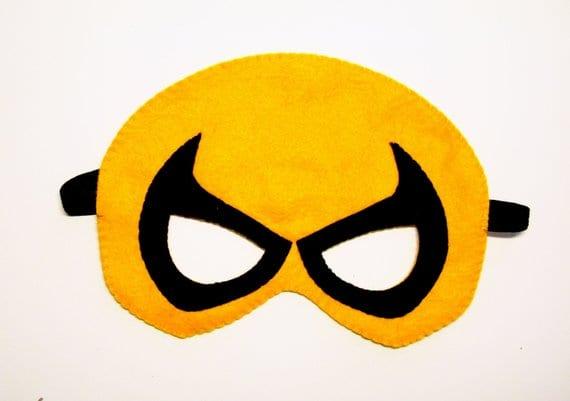 Iron Fist Superhero Felt Mask Yellow Black Kids Costume