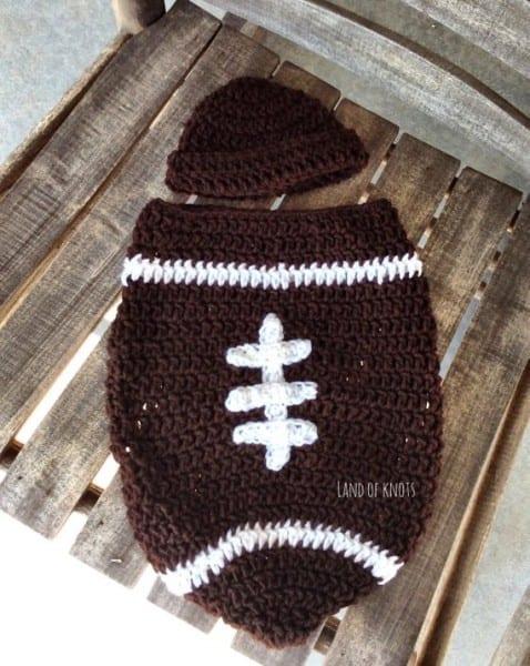 Crochet Newborn Football Hat Crochet Football Cocoon Newborn