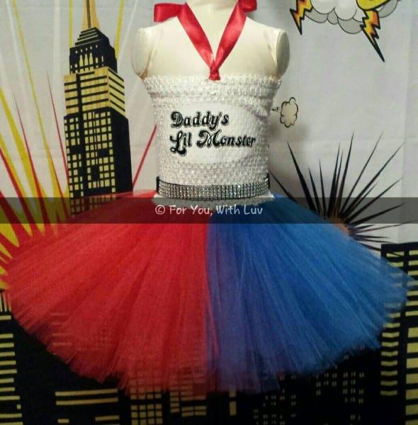 Harley Quinn Tutu Halloween Costume, Birthday, Pageant, Dress