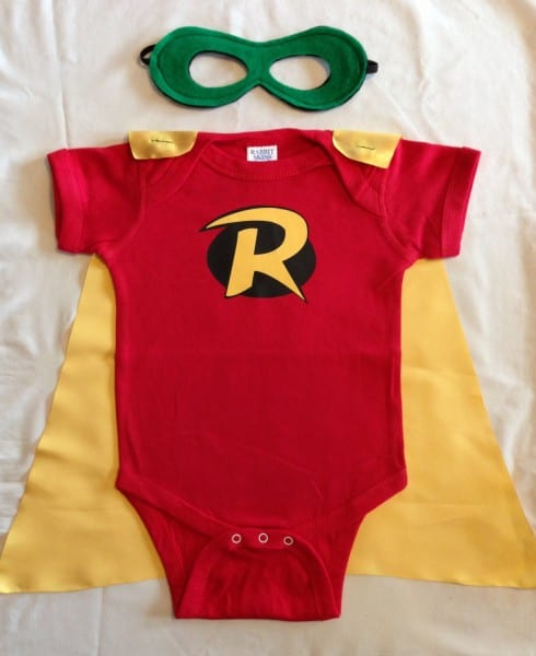 Robin Superhero Baby Outfit With Detachable Satin Cape And