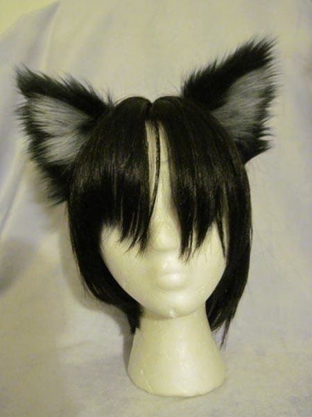 Black And Light Silver Grey Wolf Ears – Headband