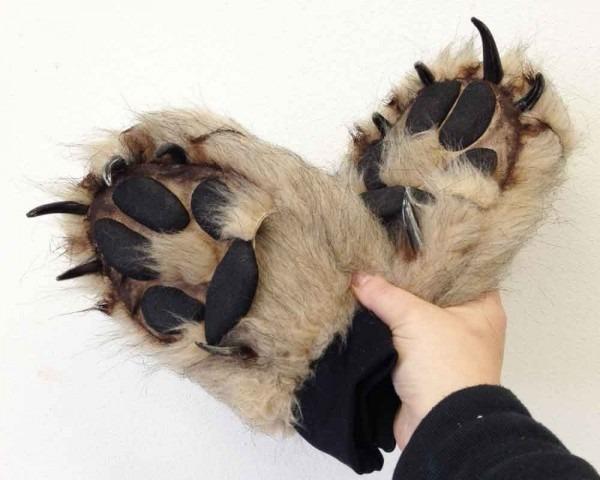 Wolf Paw Costume Gloves Fake Fur Realistic Animal Costume