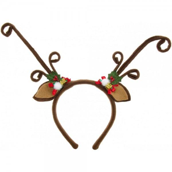 Felt Brown Reindeer Antlers Headband With Holly [26536bnaj