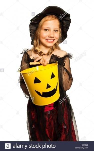 Closeup On Halloween Jack O Lantern Bucket Stock Photos & Closeup